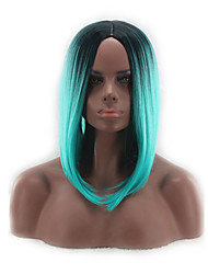cheap -Cosplay Costume Wig Synthetic Wig Straight Bob Wig Short Medium Length Blue Synthetic Hair Women's Middle Part Bob Natural Hairline Blue