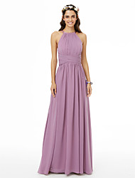cheap -A-Line Jewel Neck Floor Length Chiffon Bridesmaid Dress with Criss Cross / Ruched / Pleats / Open Back