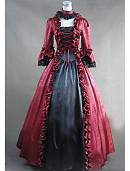 cheap -Rococo Victorian 18th Century Dress Party Costume Women's Lace Satin Costume Red Vintage Cosplay Party Prom Long Sleeve Floor Length Plus Size Customized