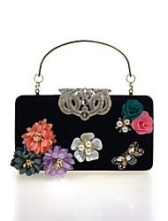 cheap -Women's Bags Velvet Evening Bag Rhinestone Satin Flower Floral Flower Wedding Party Event / Party Wine Violet Black Blue