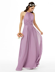 cheap -Sheath / Column Jewel Neck Floor Length Chiffon Bridesmaid Dress with Lace / Sash / Ribbon / Pleats