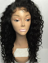cheap -Human Hair Glueless Full Lace Full Lace Wig style Brazilian Hair Curly Natural Black Wig 130% Density with Baby Hair Natural Hairline African American Wig 100% Hand Tied Women's Short Medium Length