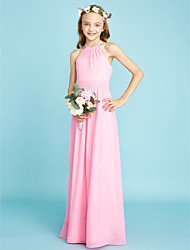 cheap -A-Line Halter Neck Floor Length Chiffon Junior Bridesmaid Dress with Sash / Ribbon / Natural