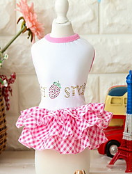 cheap -Dog Dress Dog Clothes Red Pink Costume Cotton Fruit XS S M L XL