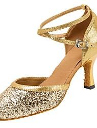 cheap -Women's Modern Shoes / Ballroom Shoes Buckle Sandal / Heel Sparkling Glitter / Buckle Customized Heel Customizable Dance Shoes Gold / Silver / Professional