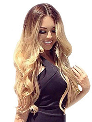 cheap -Human Hair Full Lace Wig Beyonce style Brazilian Hair Body Wave Ombre Wig 130% Density with Baby Hair Ombre Hair Natural Hairline African American Wig 100% Hand Tied Women's Short Medium Length Long