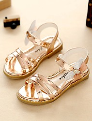 cheap -Girls' Comfort / Flower Girl Shoes / Light Soles Leatherette Sandals Little Kids(4-7ys) / Big Kids(7years +) Walking Shoes Rhinestone Gray / Pink / Champagne Summer / Fall