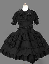 cheap -Princess Gothic Lolita Punk Dress Women's Girls' Cotton Japanese Cosplay Costumes Plus Size Customized Black Ball Gown Vintage Cap Sleeve Short Sleeve Short / Mini / Gothic Lolita Dress
