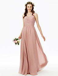 cheap -A-Line V Neck Floor Length Chiffon Bridesmaid Dress with Lace / Side Draping / Criss Cross