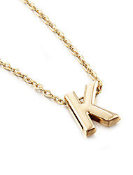 cheap -Women's Pendant Necklace Monogram Alphabet Shape Ladies Simple Style Fashion Gold Plated Yellow Gold Alloy A B C E F Necklace Jewelry 1pc For Party Gift Daily Casual