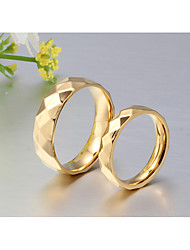 cheap -Couple's Couple Rings Band Ring Ring Gold 18K Gold Plated Titanium Steel Round Classic Simple Style Elegant Wedding Party Jewelry / Anniversary / Birthday / Graduation / Daily