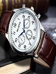 Недорогие -Муж. Модные часы Наручные часы Кварцевый Кожа Коричневый Аналоговый На каждый день - Белый Черный