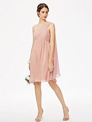 cheap -A-Line One Shoulder Knee Length Chiffon Bridesmaid Dress with Criss Cross / Ruched / Pleats / Open Back