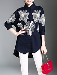 cheap -Women's Daily Work Chinoiserie Shirt - Floral Print Shirt Collar Navy Blue / Spring / Summer