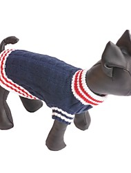 cheap -Dog Sweater Dog Clothes Color Block Dark Blue Red Silk Fabric Cotton Costume For Winter Men's Women's Casual / Daily Fashion