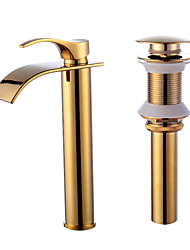 cheap -Faucet Set - Waterfall Gold Centerset Single Handle One HoleBath Taps / Brass