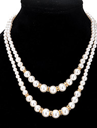 cheap -Women's Beaded Necklace Double Ladies Alloy Gold Silver Necklace Jewelry For Party Daily Casual