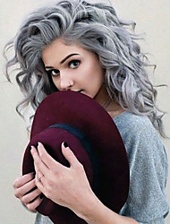 cheap -Synthetic Lace Front Wig Water Wave Water Wave Lace Front Wig Medium Length Long Grey Synthetic Hair Women's Heat Resistant Natural Hairline Gray