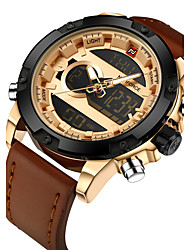 cheap -NAVIFORCE Men's Sport Watch Military Watch Wrist Watch Japanese Quartz Digital Genuine Leather Black / Brown 30 m Calendar / date / day Creative LCD Analog - Digital Luxury Casual Fashion Elegant