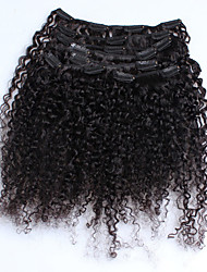 cheap -Clip In Human Hair Extensions Kinky Curly Human Hair Human Hair Extensions Women's Natural Black