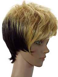 cheap -Synthetic Wig Straight Curly Style Pixie Cut Wig Blonde Mixed Color Synthetic Hair 6 inch Women's Highlighted / Balayage Hair Blonde Multi-color Wig Short hairjoy