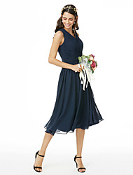 cheap -A-Line V Neck Tea Length Chiffon Bridesmaid Dress with Criss Cross / Ruched / Pleats