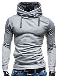 cheap -Men's Hoodie Solid Colored Hooded Contemporary / Active / Basic Sports - Long Sleeve Slim Black Green Gray S M L XL XXL / Spring / Fall / Winter