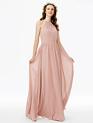 cheap -Sheath / Column Jewel Neck Floor Length Chiffon Bridesmaid Dress with Sash / Ribbon / Pleats