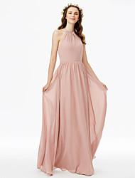cheap -Sheath / Column Jewel Neck Floor Length Chiffon Bridesmaid Dress with Sash / Ribbon / Pleats