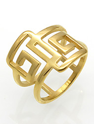 cheap -Men's Women's Band Ring Statement Ring Ring AAA Cubic Zirconia Gold Silver 18K Gold Plated Titanium Steel Round Circular Geometric Personalized Unusual Geometric Wedding Party Jewelry