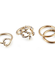 cheap -Women's Jewelry Set Band Ring Knuckle Ring Cubic Zirconia 4pcs Gold Silver Cubic Zirconia Rhinestone Alloy Ladies Unusual Unique Design Party Daily Jewelry Heart Love