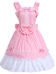cheap -Princess Sweet Lolita Dress JSK / Jumper Skirt Women's Girls' Cotton Japanese Cosplay Costumes Pink Solid Colored Sleeveless Knee Length