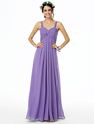 cheap -Sheath / Column Straps Floor Length Chiffon Bridesmaid Dress with Criss Cross / Ruched / Pleats / Open Back