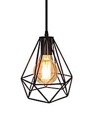 cheap -1-Light Vintage Black Metal Cage Loft Mini Pendant Lights Living Room Dining Room Hallway Cafe Bars Light Fixture