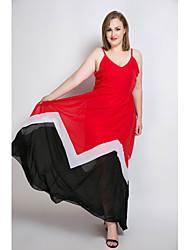 cheap -Women's Plus Size Party / Beach Vintage / Street chic Maxi Sheath / Chiffon / Swing Dress - Color Block / Patchwork Strap Spring Pink Navy Blue Royal Blue XXXXL XXXXXL XXXXXXL