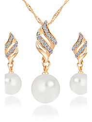 cheap -Women's Jewelry Set Pendant Necklace / Earrings Infinity Ladies Luxury Dangling Pearl Fashion Elegant Crystal Imitation Pearl Rhinestone Earrings Jewelry Gold / Silver For Christmas Gifts Wedding