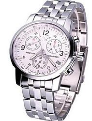 Недорогие -Муж. Спортивные часы Модные часы Кварцевый Нержавеющая сталь Серебристый металл 30 m Аналоговый Белый Черный Синий