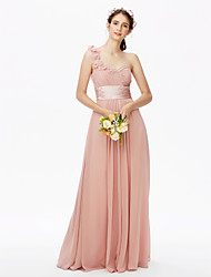 cheap -A-Line One Shoulder Floor Length Chiffon Bridesmaid Dress with Sash / Ribbon / Criss Cross / Pleats / Open Back