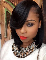 cheap -Remy Human Hair Glueless Lace Front Lace Front Wig Bob Side bangs style Brazilian Hair Straight Wig 150% Density with Baby Hair Natural Hairline African American Wig 100% Hand Tied Women's Short