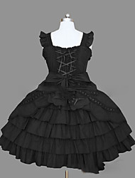 cheap -Princess Gothic Lolita Punk Dress JSK / Jumper Skirt Women's Girls' Cotton Japanese Cosplay Costumes Plus Size Customized Black / Pink Ball Gown Vintage Cap Sleeve Sleeveless Short / Mini
