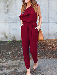 cheap -Women's Off Shoulder Ruffle Daily / Going out / Weekend One Shoulder Black Wine Blue Jumpsuit Onesie, Solid Colored Ruffle S M L Sleeveless Spring Summer