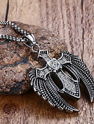 cheap -Men's Crystal Pendant Necklace Statement Necklace Cross Wings Star Statement Ladies Personalized Punk Stainless Steel Titanium Steel Silver Necklace Jewelry For Christmas Gifts Party Birthday Party
