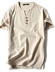 cheap -Men's T shirt Solid Colored Short Sleeve Daily Tops Cotton Basic Chinoiserie White Black Khaki