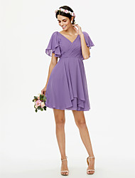 cheap -A-Line V Neck Short / Mini Chiffon Bridesmaid Dress with Criss Cross / Pleats / Side-Draped / Open Back