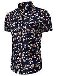 cheap -Men's Daily Beach Weekend Slim Shirt - Floral Print Classic Collar Navy Blue / Short Sleeve / Summer