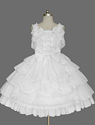 cheap -Princess Sweet Lolita Dress JSK / Jumper Skirt Women's Girls' Cotton Japanese Cosplay Costumes Plus Size Customized White Ball Gown Solid Color Fashion Cap Sleeve Short Sleeve Short / Mini / Tuxedo