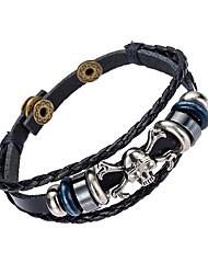 Недорогие -Муж. Кожаные браслеты Природа Мода Кожа Браслет Ювелирные изделия Черный Назначение Особые случаи Подарок Спорт