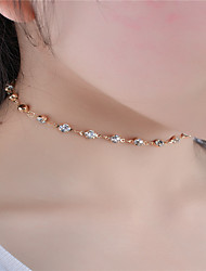 cheap -Women's Crystal Choker Necklace Personalized Simple Style Fashion Euramerican Rhinestone Gold Silver Necklace Jewelry For Dailywear Daily Casual Outdoor clothing Casual / Daily