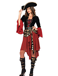cheap -Pirate Cosplay Costume Party Costume Women's More Uniforms Christmas Halloween Carnival Festival / Holiday Spandex Polyester Black / Red Carnival Costumes Patchwork