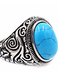 cheap -Ring Turquoise Engraved White Black Blue LED Stainless Steel Titanium Steel Obsidian Ladies Unique Design Basic 7 8 9 10 11 / Men's / Men's
